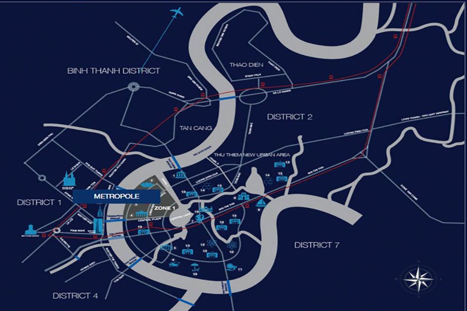 Vị trí metropole tDự Án The Metropole - Vị Trí Giao Thông Chiến Lượchủ thiêm