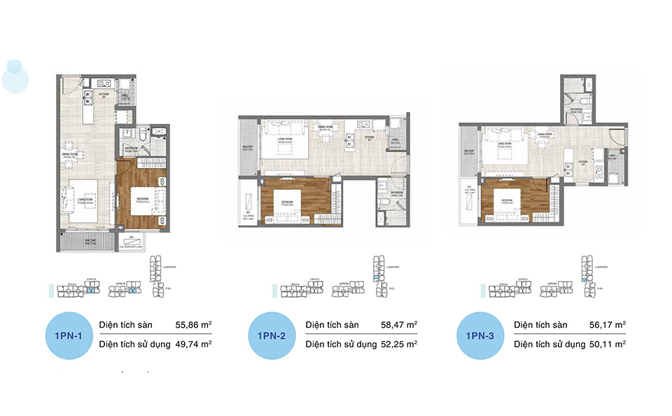 Mẫu thiết kế layout căn hộ 1 phòng ngủ, dự án One Verandah Quận 2