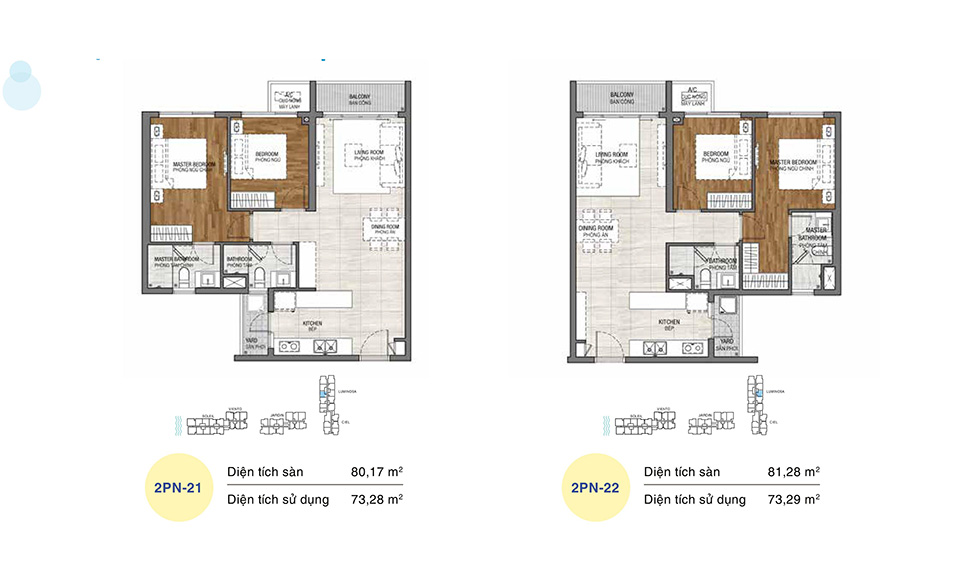 Mẫu thiết kế layout căn hộ 2 phòng ngủ, dự án One Verandah Quận 2