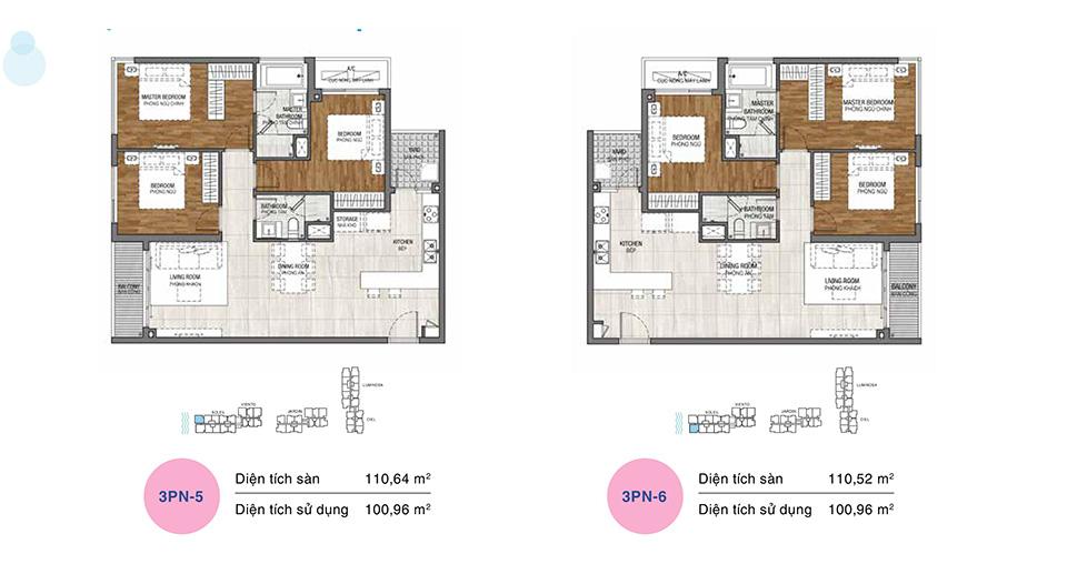 Mẫu thiết kế layout căn hộ 3 phòng ngủ
