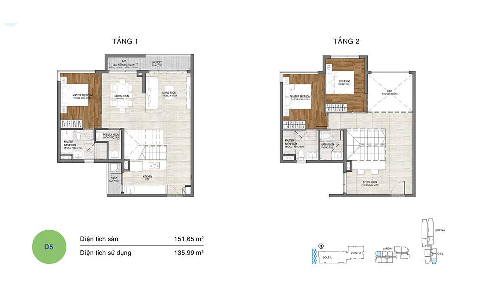 Mẫu thiết kế layout căn hộ Duplex tầng 1&2