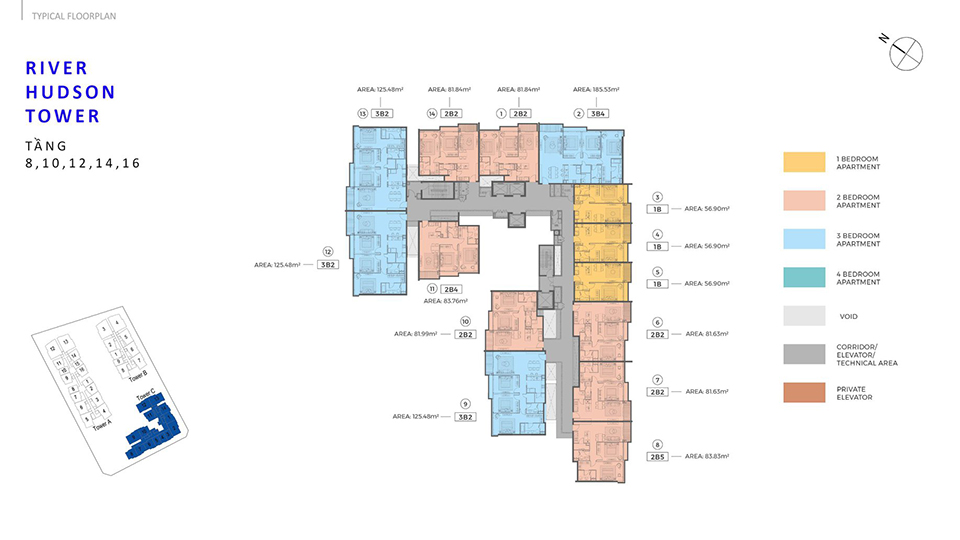 Layout Thiết Kế River Hubson Tower C