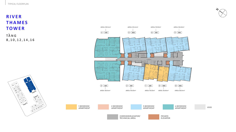 Layout Thiết Kế River Thames Tower B