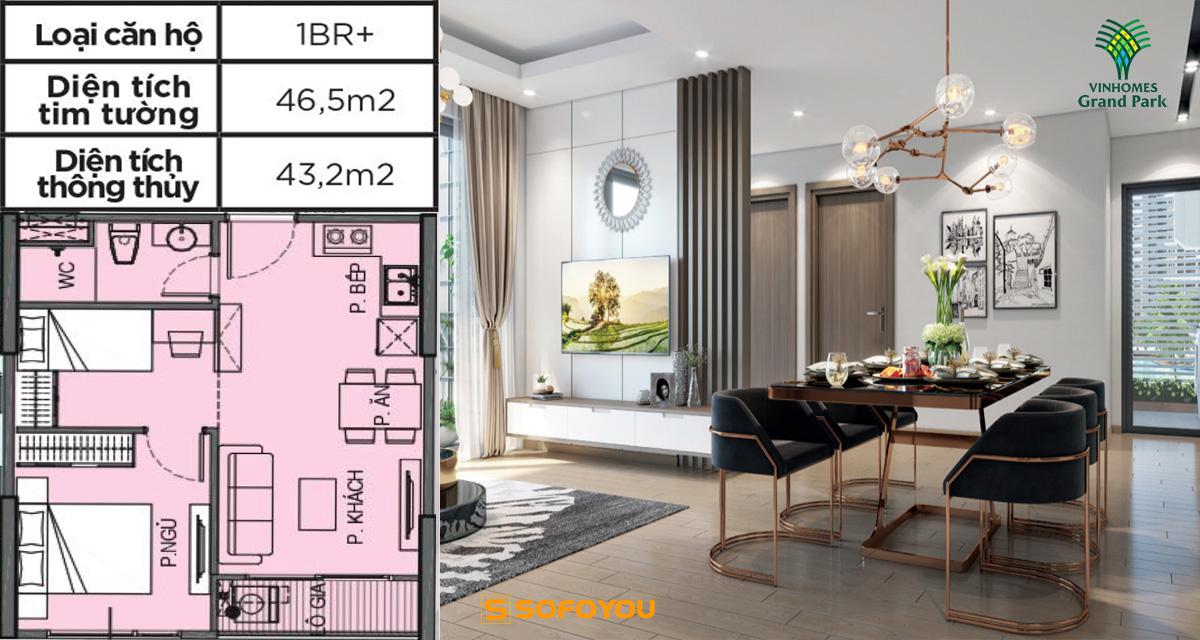 Mẫu thiết kế căn hộ 1PN+ Vinhomes Grand Park Quận 9