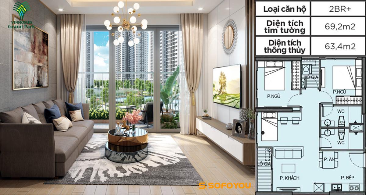 Mẫu thiết kế căn hộ 2PN+ Vinhomes Grand Park Quận 9