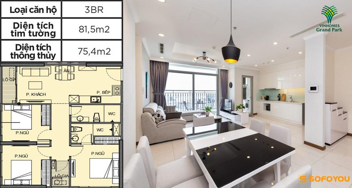 Mẫu thiết kế căn hộ 3 phòng ngủ Vinhomes Q9
