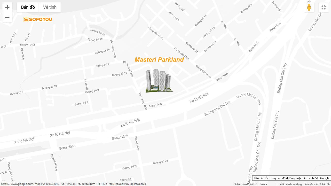 Vị trí dự án Masteri Parkland An Phú, Quận 2, TP.HCM