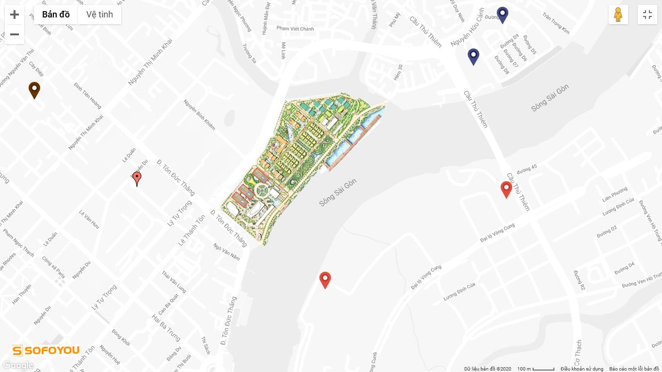 Vị trí căn hộ Aqua 1, 2, 3 và 4 Vinhomes Golden River tọa lạc tại địa chỉ số 2 Tôn Đức Thắng