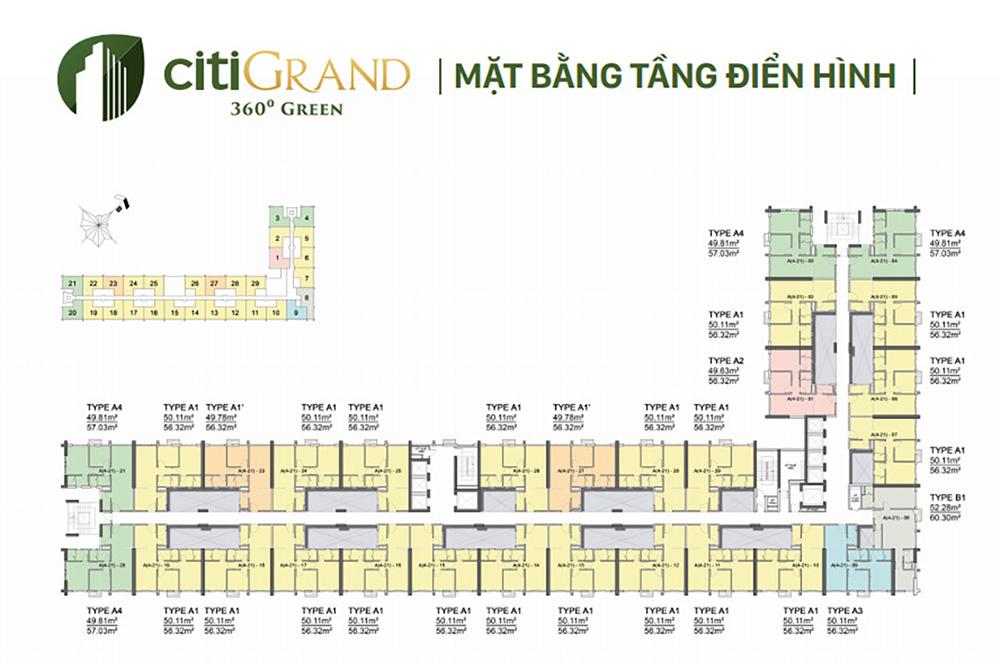 Mặt bằng thiết kế layout Căn hộ Citi Grand