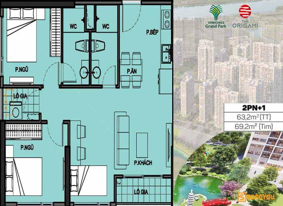 Layout thiết kế Căn hộ Vinhomes Grand Park Origami 2+1 Phòng ngủ