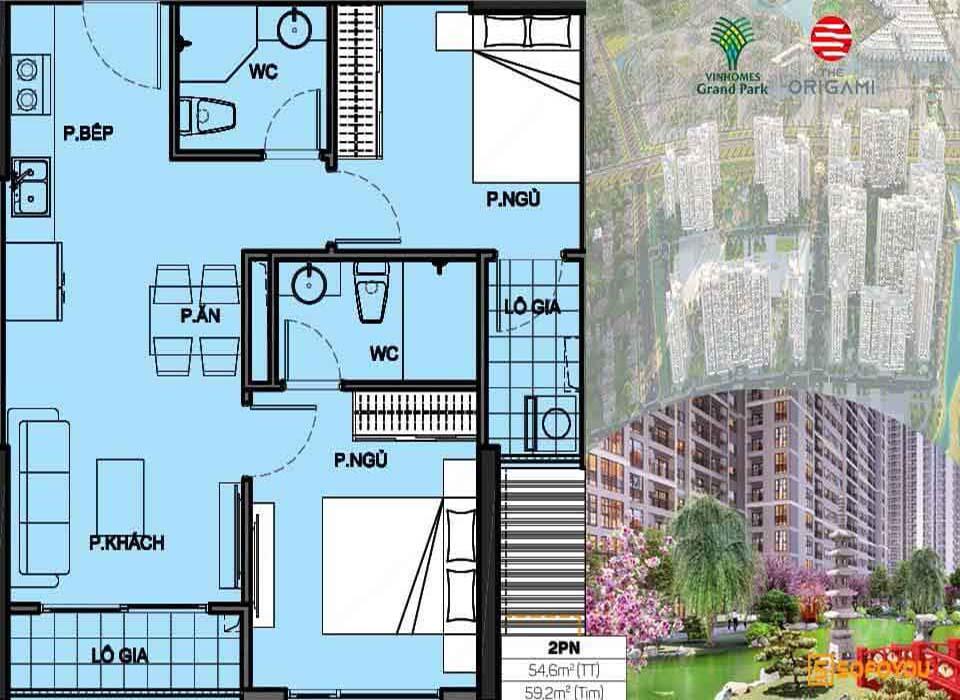 Layout thiết kế Căn hộ Vinhomes Grand Park Origami 2 Phòng ngủ