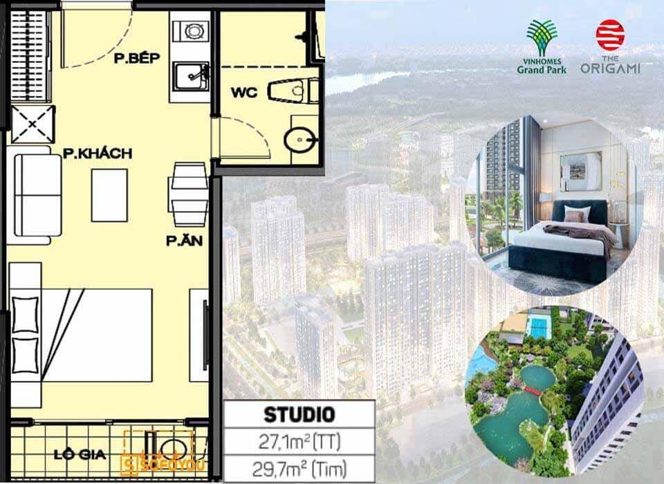 Layout thiết kế Căn hộ Studio Vinhomes Grand Park Origami 1 Phòng ngủ