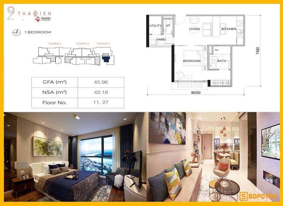Layout thiết kế căn hộ Q2 Thảo Điền 1 Phòng ngủ