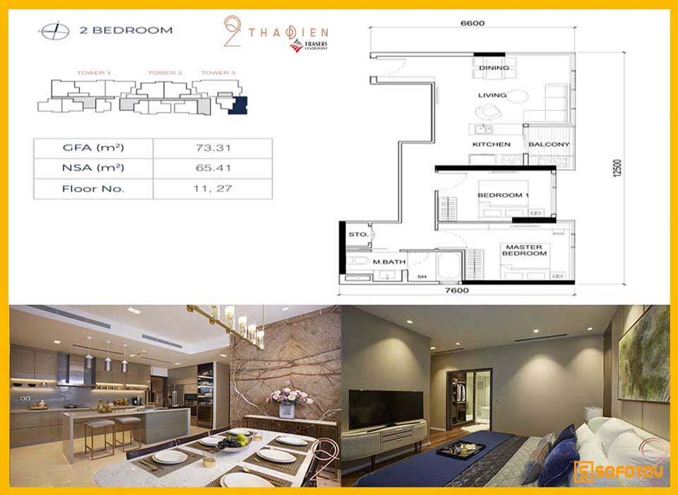 Layout thiết kế căn hộ Q2 Thảo Điền 2 Phòng ngủ