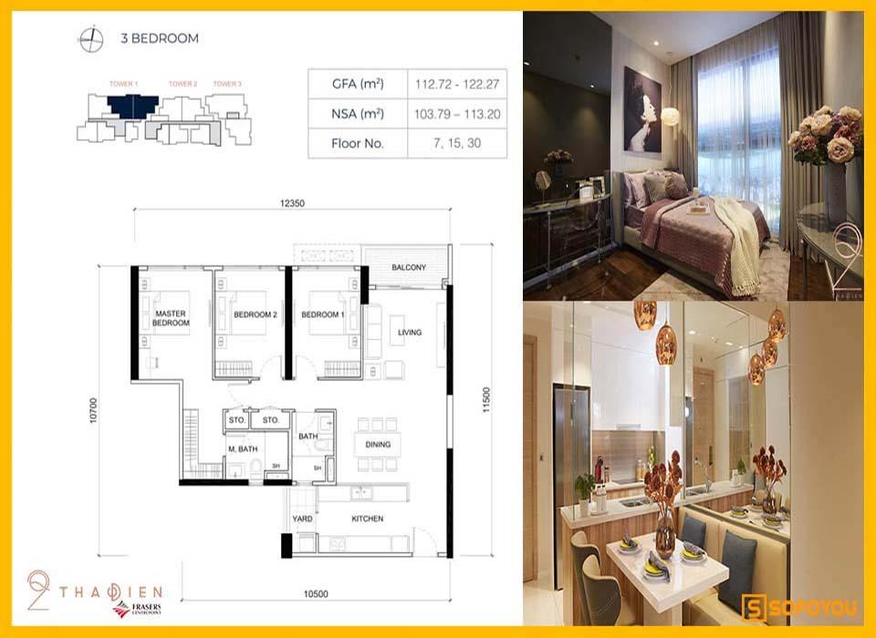 Layout thiết kế căn hộ Q2 Thảo Điền 3 Phòng ngủ