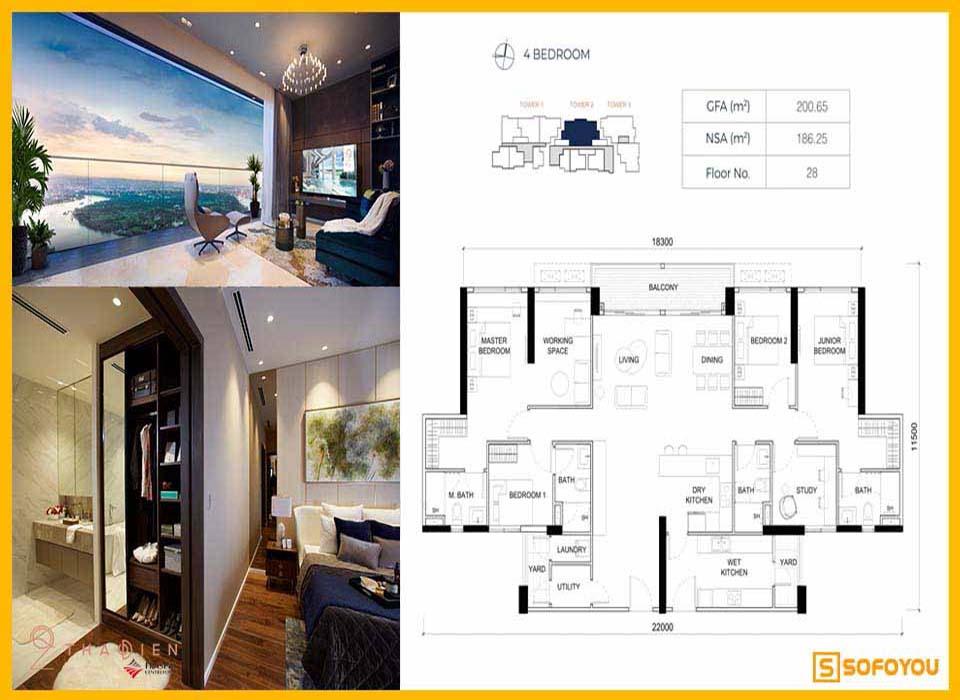 Layout thiết kế căn hộ Q2 Thảo Điền 4 Phòng ngủ