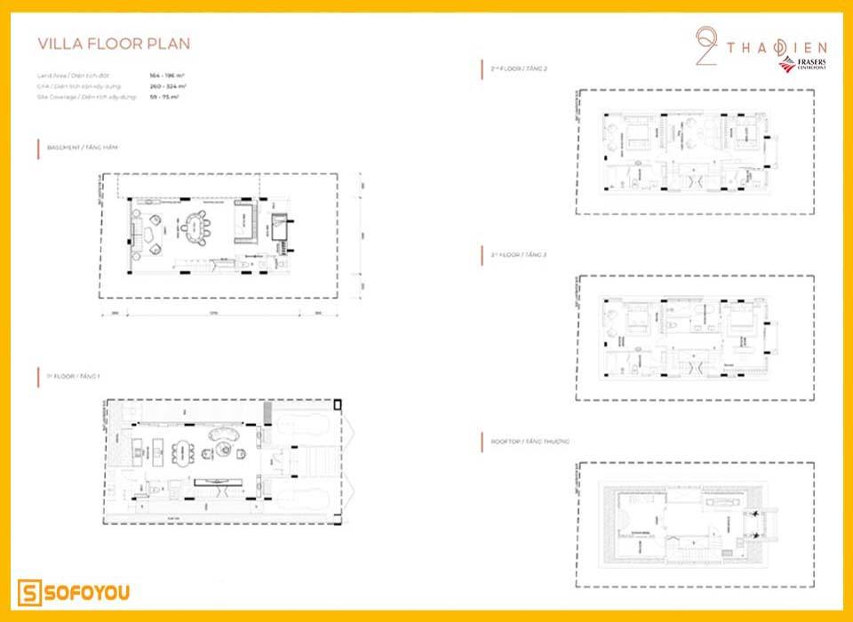 Layout thiết kế biệt thự villa Q2 Thảo Điền