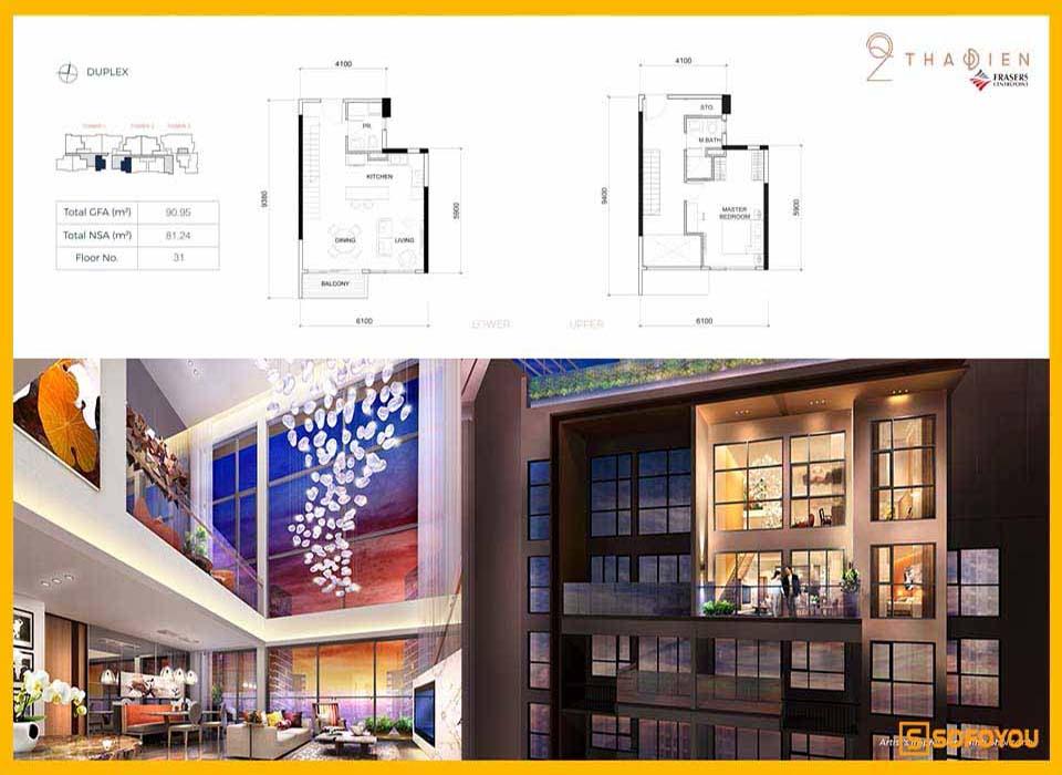 Layout thiết kế căn hộ Duplex Q2 Thảo Điền