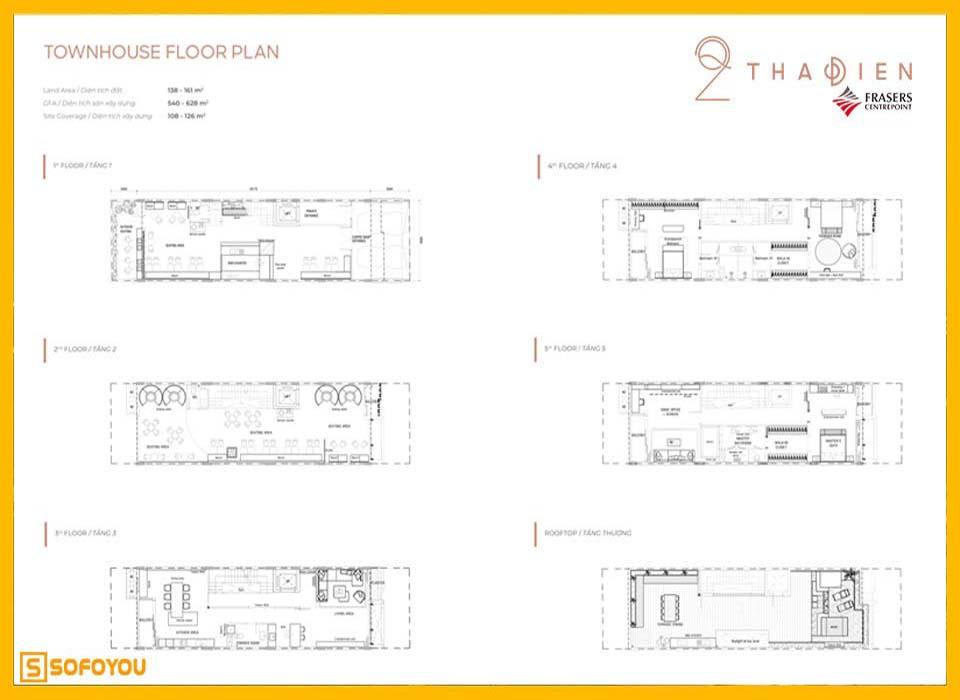 Layout thiết kế nhà phố liền kề Q2 Thảo Điền