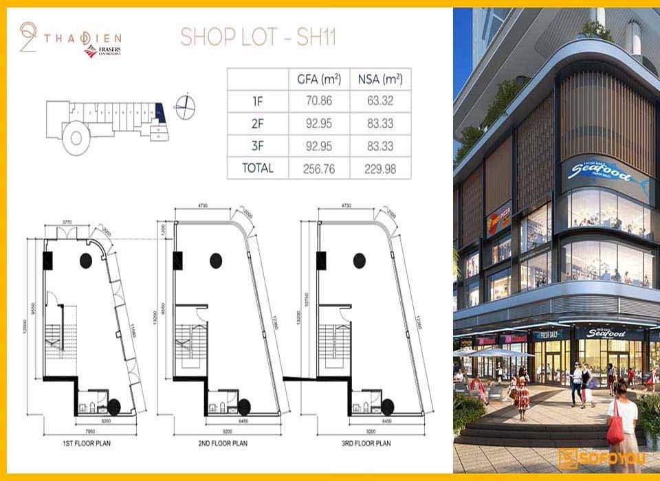 Layout thiết kế căn Shophouse Q2 Thảo Điền