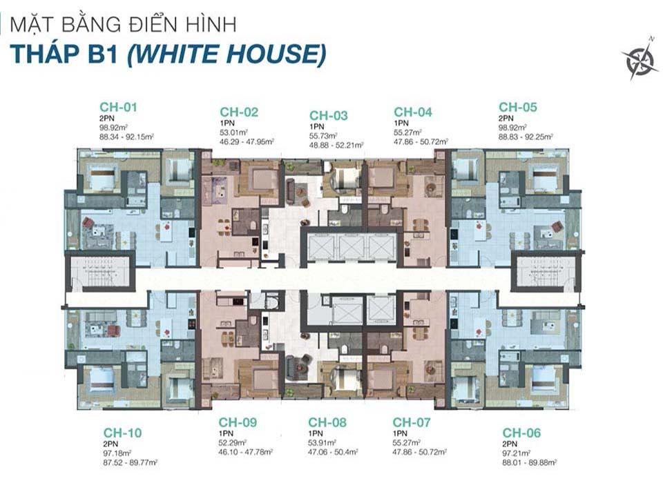 Măt bằng layout thiết kế block B1 Sunwah Pearl White House