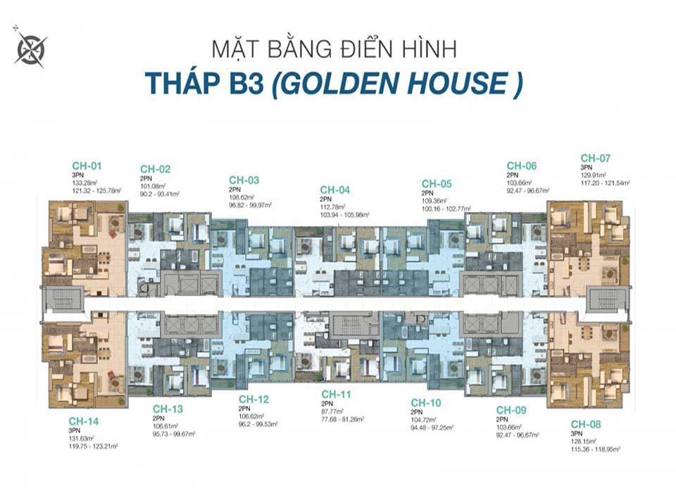 Măt bằng layout thiết kế block B3 Sunwah Pearl Golden House