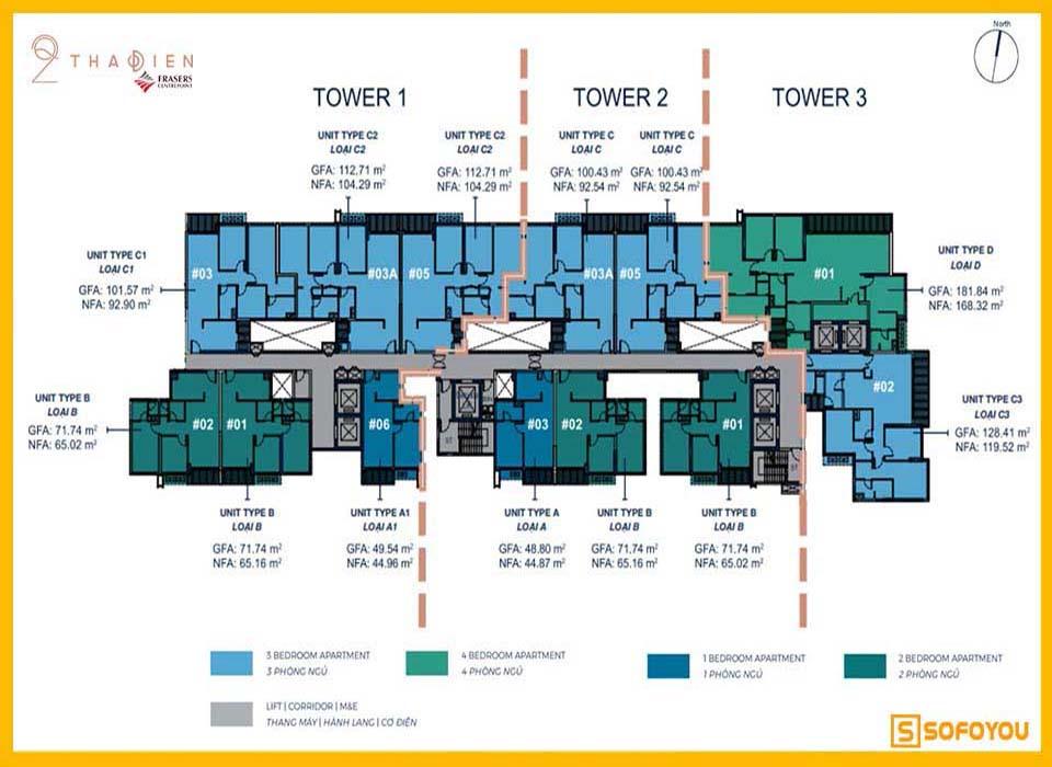 Mặt bằng căn hộ chung cư Q2 Thảo Điền