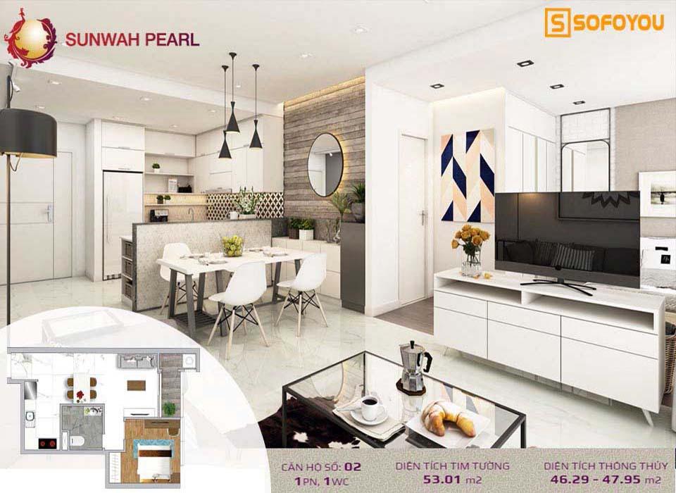 Mẫu thiết kế Căn hộ Sunwah Pearl 1 Phòng ngủ, diện tích 51-53m2