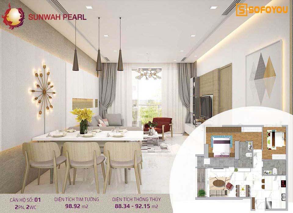 Căn hộ Sunwah Pearl 2 Phòng ngủ, diện tích 97-105m2