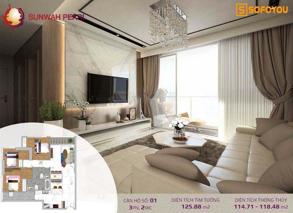 Căn hộ Sunwah Pearl 3 Phòng ngủ, diện tích 122-124m2
