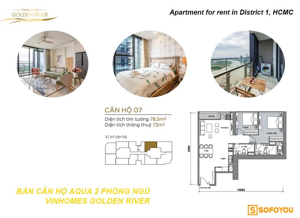 Bán căn hộ Aqua 2 phòng ngủ Vinhomes Golden River Bason Q1