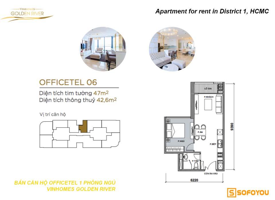Bán căn hộ Aqua 1 phòng ngủ Officetel Vinhomes Golden River Bason Q1