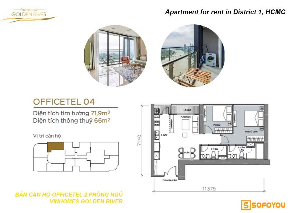 Bán căn hộ Aqua 2 phòng ngủ Officetel Vinhomes Golden River Bason Q1