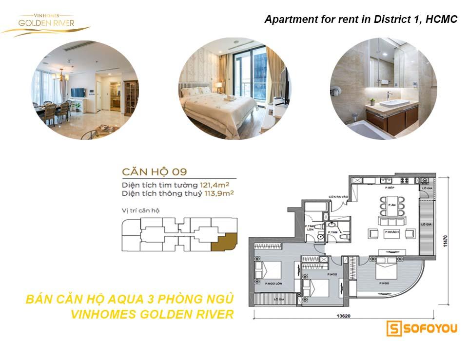 Bán căn hộ Aqua 3 phòng ngủ Vinhomes Golden River Q1