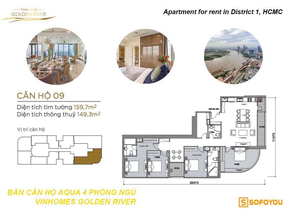 Bán căn hộ Aqua Vinhomes Golden River 4 phòng ngủ