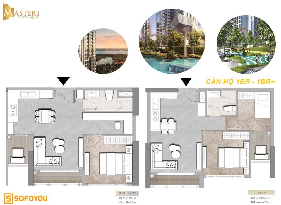 Layout căn hộ Masteri Centre Point 1 phòng ngủ -1PN+
