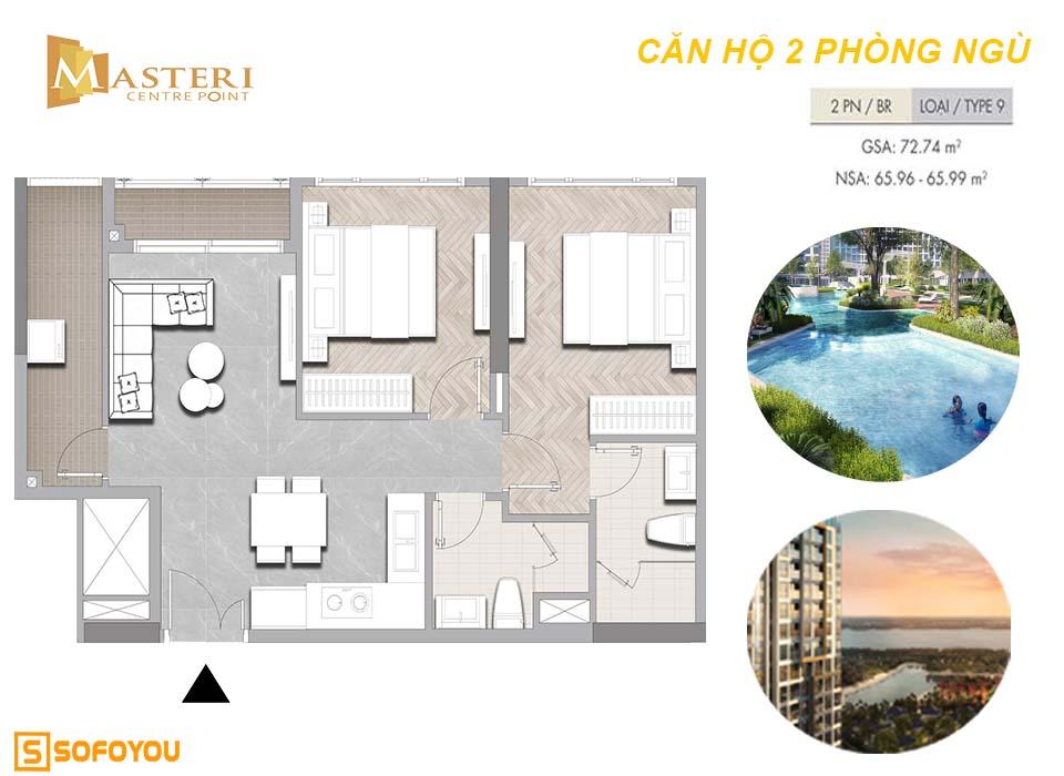 Layout căn hộ Masteri Centre Point 2 phòng ngủ