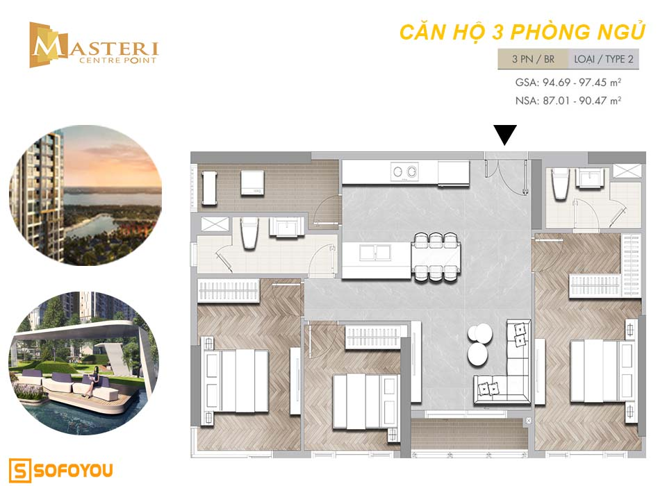 Layout căn hộ Masteri Centre Point 3 phòng ngủ