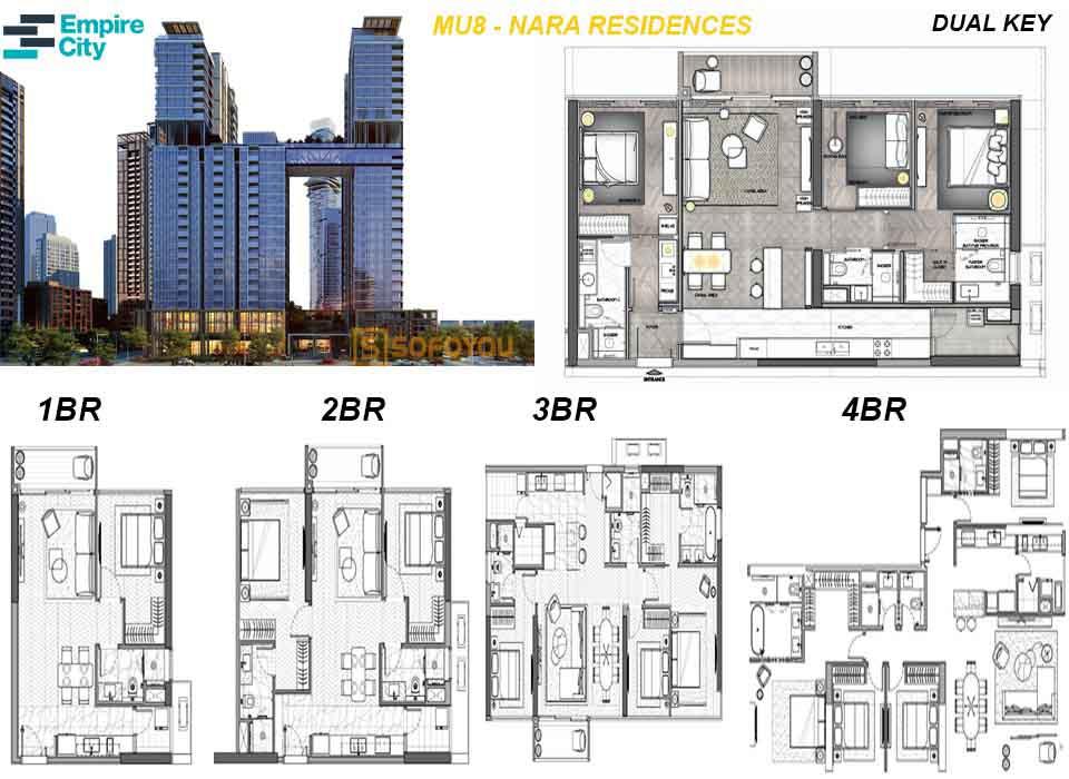 Layout thiết kế căn hộ Empire City Mu8 - Nara Residences Thủ Thiêm Quận 2
