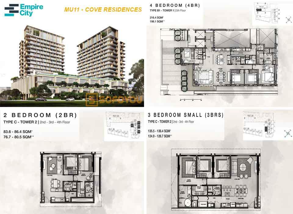Layout thiết kế căn hộ Cove Residences - Empire City Mu11