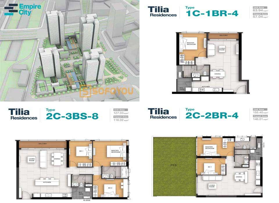Layout thiết kế căn hộ Tilia Residences - Empire City Mu7