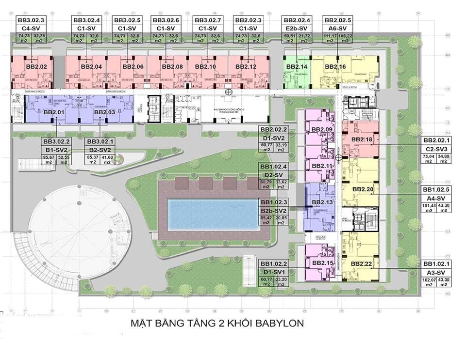 Layout thiết kế block căn hộ Babylon quận 2