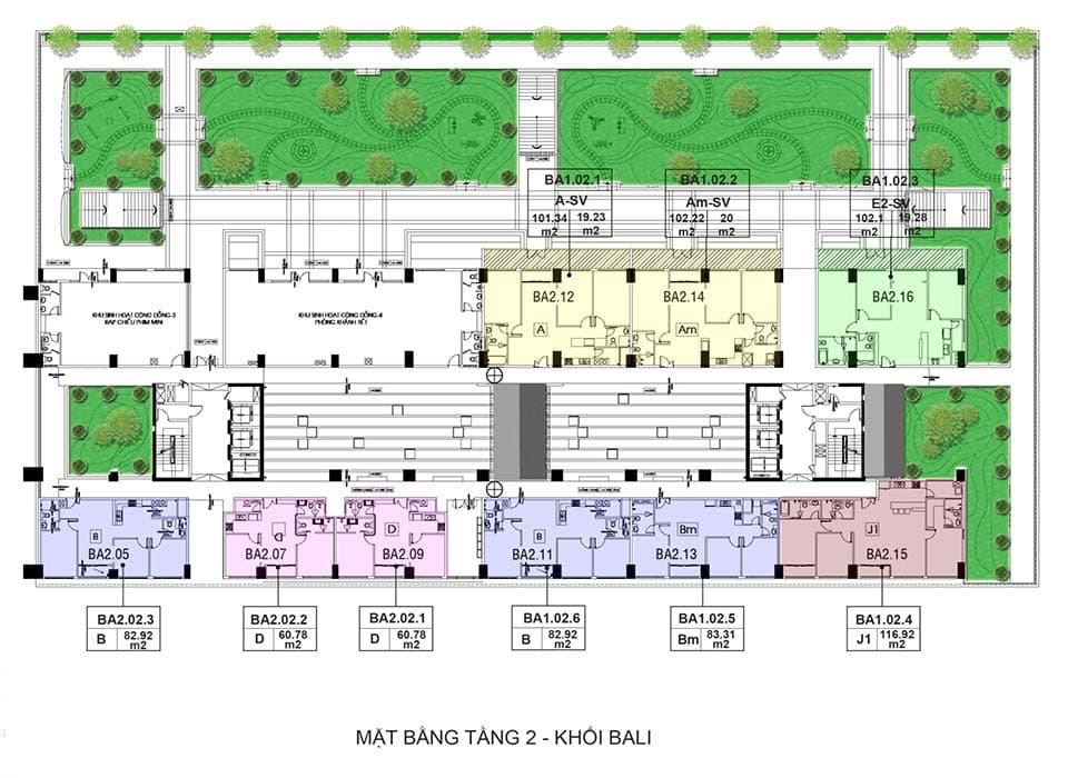Layout thiết kế block căn hộ Bali quận 2