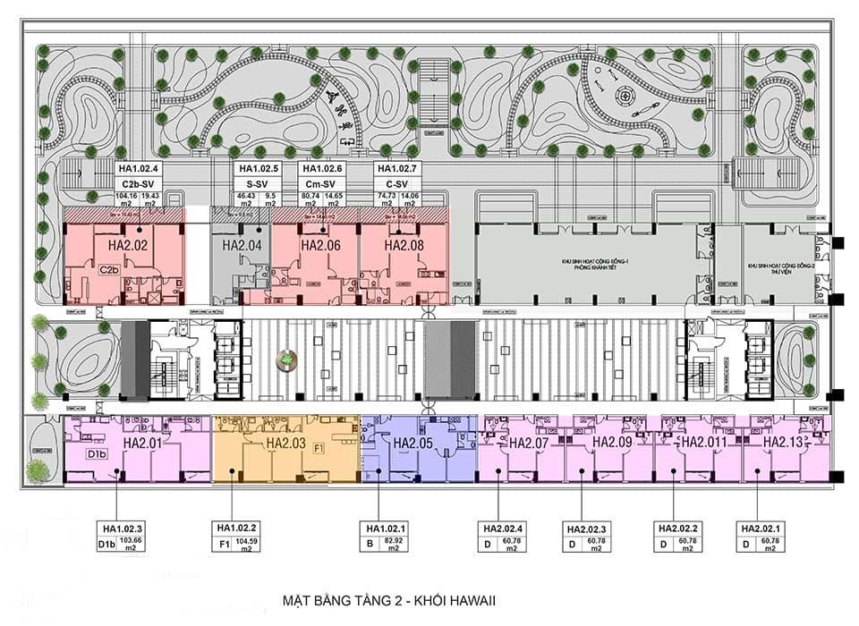 Layout thiết kế block căn hộ Hawaii quận 2