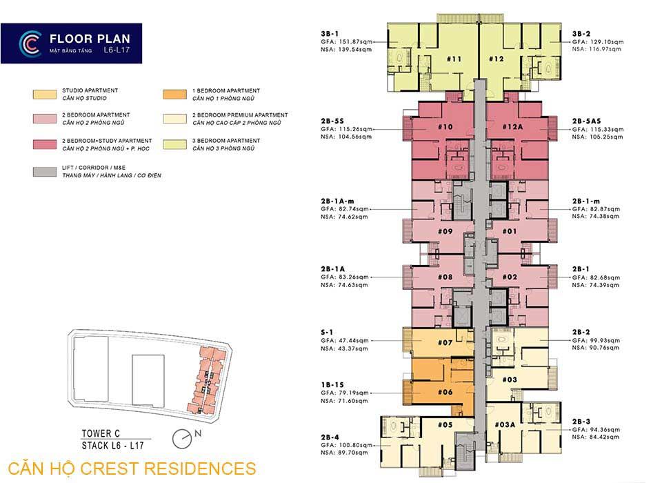 Mặt bằng layout Căn hộ Crest Residences Quận 2