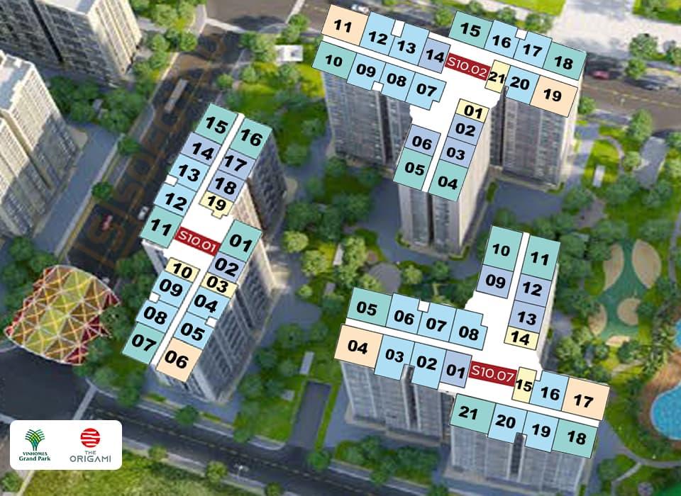 Mặt bằng Origami tòa S10 gồm 6 tháp, mỗi block S10.01 - S10.02 - S10.03 - S10.05 - S10.06 - S10.07