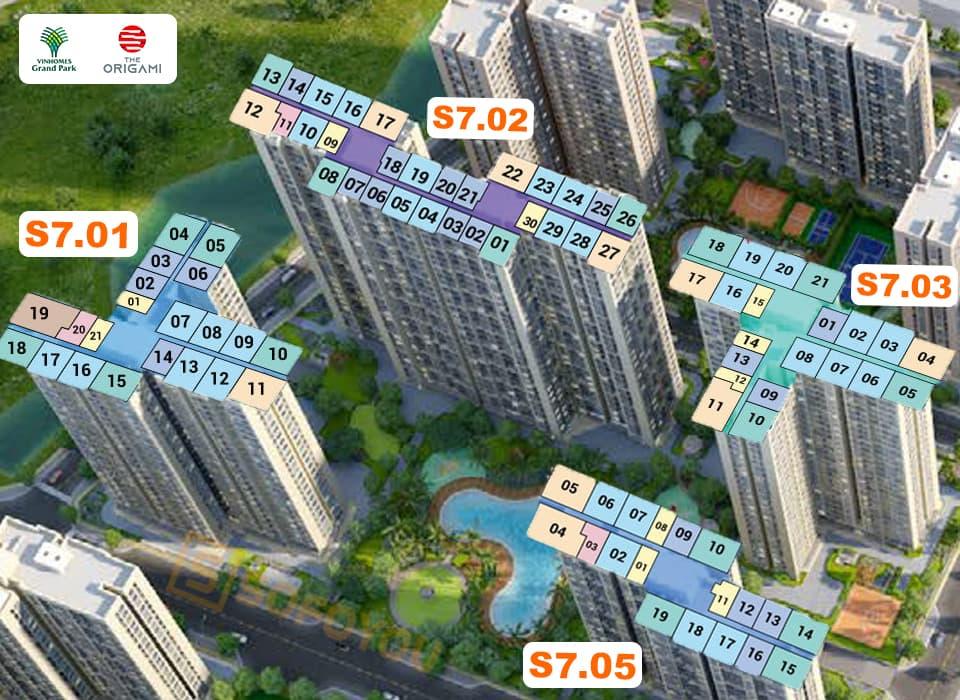 Mặt bằng Origami tòa S7 gồm 4 tháp, mỗi block S7.01 - S7.02 - S7.03 - S6.05