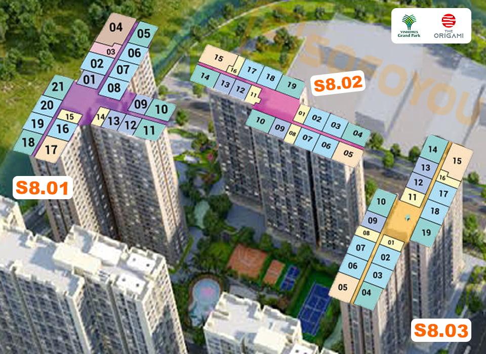 Mặt bằng Origami tòa S8 gồm 3 tháp, mỗi block S8.01 - S8.02 - S8.03