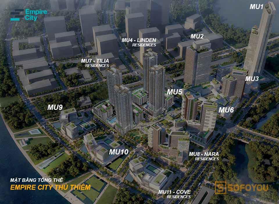 Mặt bằng tổng thể tháp Empire City Thủ Thiêm Quận 2