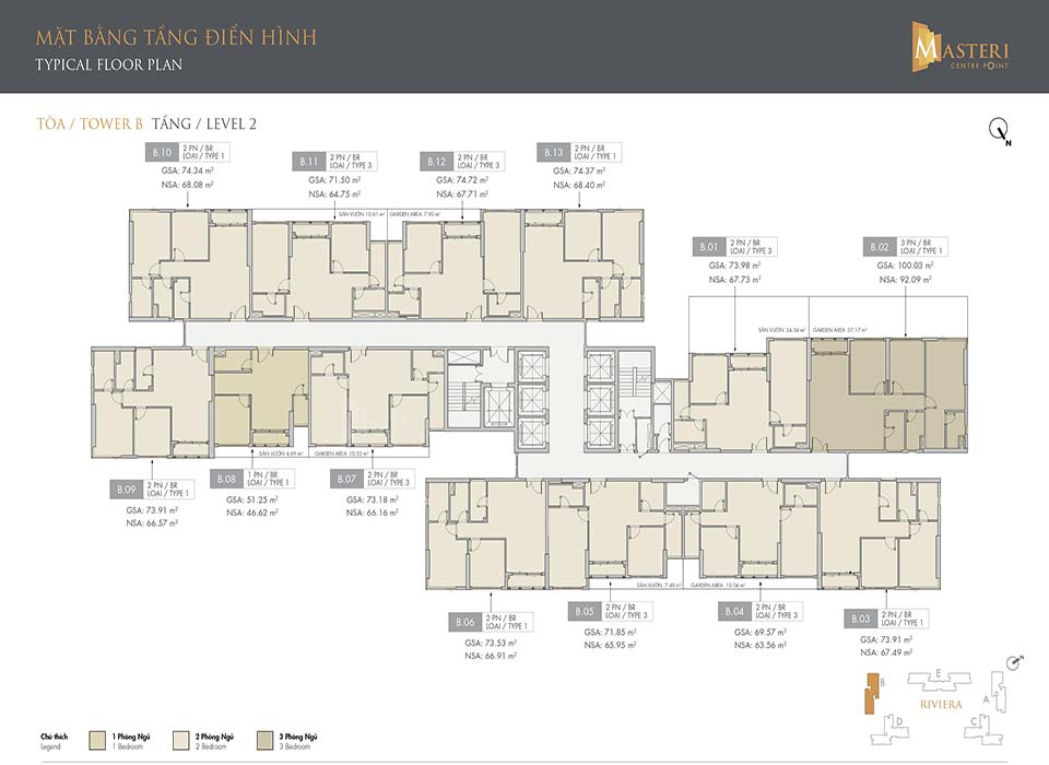 Layout Tòa B - Mặt bằng phân khu Riviera | Masteri Quận 9
